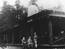 Image of John Muir, William Kent, and J. H. Cutter at Muir Woods Tavern, 1912