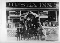 Image of Members of Olympic Club post race at Dipsea Inn, circa 1905                                                                                                                                                                                          - Print, Photographic