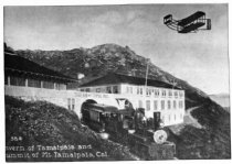 "Image of Tavern of Tamalpais with ""Early Bird Flyer"" above, circa 1911                                                                                                                                                                                              - Print, Photographic"