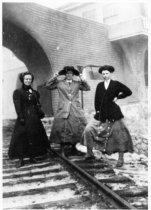 Image of Women on train tracks at Tavern of Tamalpais, circa 1910                                                                                                                                                                                                - Print, Photographic
