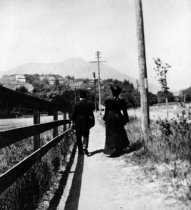Image of Man and woman walk toward Mt. Tam, date unknown