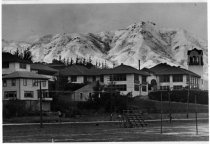 Image of Snow covered Mt. Tamalpais with Tamalpais High School in foreground, circa 1913 or 1922                                                                                                                                                                        - Print, Photographic