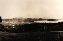 Image of Richardson Bay with Tamalpais High School on the far left, 1915                                                                                                                                                                                                - Print, Photographic