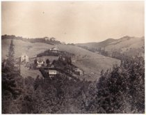 Image of View of Mill Valley with church, circa 1904                                                                                                                                                                                                                - Print, Photographic