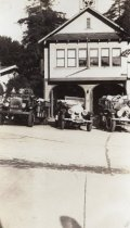 Image of Fire station and trucks, 1935