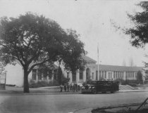 Image of Old Mill School and school bus, circa 1930s                                                                                                                                                                                                                    - Print, Photographic
