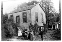 Image of Borgeson family in front of their house, circa 1890-1900                                                                                                                                                                                                   - Print, Photographic