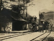 Image of First train into Mill Valley, circa 1890                                                                                                                                                                                                                   - Print, Photographic