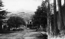 Image of Looking north on Miller Avenue from the railroad station, circa 1892-1893                                                                                                                                                                                 - Print, Photographic
