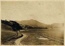 Image of Miller Ave as a winding dirt road, circa 1900.                                                                                                                                                                                                                 - Print, Photographic