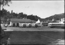 Image of The Greyhound bus depot and lot, circa 1941                                                                                                                                                                                                                    - Print, Photographic
