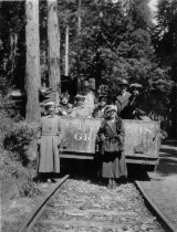 Image of Louis Janes party on gravity car, 1906-1930                                                                                                                                                                                                                    -