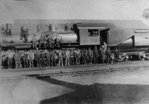 Image of Northwestern Pacific Railroad engine and workers, circa 1920-1925 - Print, Photographic