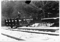 Image of Bill Feeney Sr. on gravity car at Lee Street siding, 1922                                                                                                                                                                                              - Print, Photographic