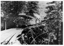 Image of Mill Valley & Mt. Tamalpais Railroad train crossing trestle, circa early 1900s                                                                                                                                                                                 - Print, Photographic