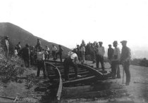 Image of Crew tearing up railroad track, 1930                                                                                                                                                                                                                    - Print, Photographic