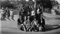 Image of Group photo of women on the corner of Throckmorton Avenue at Old Mill Street, circa 1930s                                                                                                                                                                - Print, Photographic