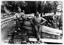 Image of Workmen at railroad trestle, circa 1914                                                                                                                                                                                                                    - Print, Photographic