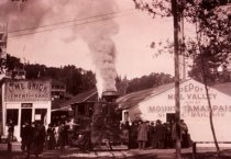 Image of First run of the Mill Valley & Mt. Tamalpais Scenic Railway, 1896                                                                                                                                                                                              - Print, Photographic