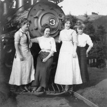 Image of Women posing with the Mt. Tamalpais and Muir Woods Railway engine no. 3, 1912                                                                                                                                                                                  - Print, Photographic