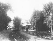 Image of The old and new train stations in Mill Valley, 1900                                                                                                                                                                                                       - Print, Photographic