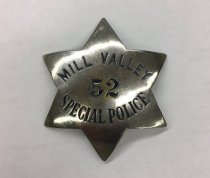 Image of Mill Valley Special Police Department Badge, circa 1920s.