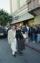 Image of Zoë Elton and Robina Marchesi in front of the Sequoia Theatre during the Mill Valley Film Festival, 2000                                                                                                                                                                            - Print, Photographic