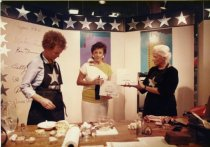 Image of Anne Lamott in a cooking demonstration, circa 1984-85                                                                                                                                                                                                          - Print, Photographic