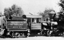 Image of Engineer Ernest Thomas on the Jov. G. Eastland of Mt. Tam. Railway engine