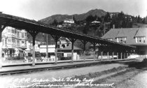 Image of Northwest Pacific Railroad at Mill Valley Depot (3rd) station, circa 1920s                                                                                                                                                               - Print, Photographic