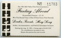 Image of Raffle ticket for the Closing Night Gala, 1983 - Mill Valley Film Festival Collection