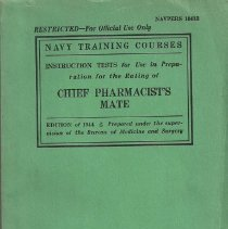 Image of Book, Training - Instruction Tests for Use in Preparation for the Rating of Chief Pharmacist's Mate