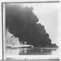 Image of Oil fires on Saipan from bombardment