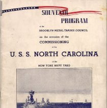 Image of Program - Souvenir Program of the Brooklyn Metal Trades Council on the occasion of the Commissioning of the USS North Carolina at the New York, Navy Yard