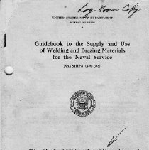Image of Booklet - Guidebook to the Supply and Use of Welding and Brazing Materials for the Naval Service