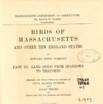 Image of QL 684 M4 F65 Vol. III - Detailed description of Massachusetts and New England birds including physical characteristics, measurements, range in New England, habits, song, along with black and white and colored illustrations and plates. 