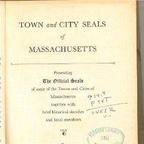 Image of CD 5618 M4 F6 v.1 - Alphabetical listing of city seals for Massachusetts.