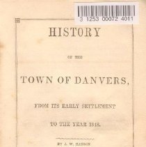 Image of F 74 D2 H2 c.1 - History of Danvers from beginning to 1848.