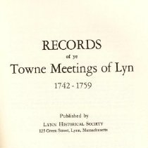 Image of JS 13 L97 v.5, c.2 - Transcribed minutes of Town Meetings in Lynn between 1742-1759.