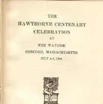 Image of PS 1885 H5 - Exercises and addresses given during the one hundredth anniversary of Hawthorne's birth.