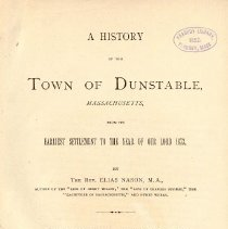 Image of F 74 D9 N2 - History of Dunstable, Massachusetts.