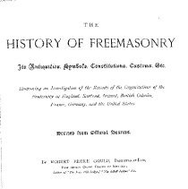 Image of HS 403 G8 1887 Vol. I - History of Freemasonry from ancient roots, including the Essenes, Roman Collegia and Culdees.  Continues with the early years of freemasonry in Great Britain, the stonemasons of Germany, the craft guilds of France.  Includes information about Mason marks, statues and apocryphal manuscripts;
