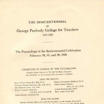 Image of LB 1960 N25 P314 - Includes a brief biography of Peabody, along with the history of the Southern Education Fund and the college.  Proceedings for celebration included.