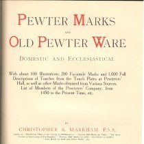 Image of NK 8415 G7 Mx - Description of pewterer's craft, types made, cleaning and repairing of pewter, marks found and list of members of pewterers' company from 1450 to 1909.