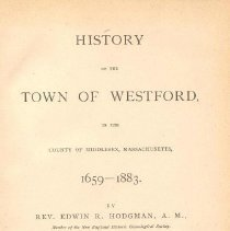 Image of F 74 W69 H8 - History of Westford, Mass.