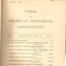 Image of E 172 A65 Vol. V - Number 1 to 4 of Volume 5 of the papers of the American Historical Association.