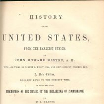 Image of E 178 H696 Vol. I - Detailed history of the United States from the early 1600's to the events leading up to the Civil War.