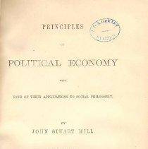 Image of HB 161 M6 1868 Vol. I - Principles of Economy