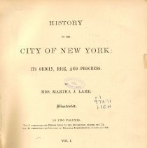 Image of F 128.3 L21 Vol. I - History of the city of New York until 1774.