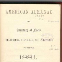 "Image of AY 64 A55 - a copy of ""American Almanac and Treasury of Facts, Statistical, Financial, and Political, for the Year 1881."""